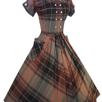 Vintage 40s 50s Plaid Cotton Dress S/M