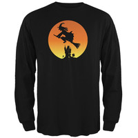 Halloween Witch Sunset Black Adult Long Sleeve T-Shirt