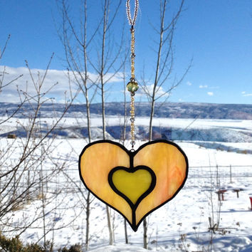 Valentines Day Heart - Stained Glass Suncatcher - Yellow and Peach with Beaded Strand - Handmade Gift