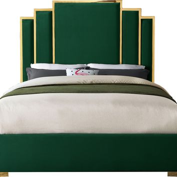 Hugo Green Velvet Queen Bed