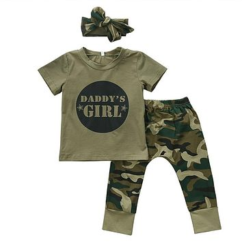 Cute Boys Girls Clothes short sleeve letter print pullover round neck T-shirts camouflage Pants Bow Headband 2 or 3pc cotton Set