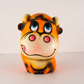 Vintage Kitschy Cow bank Bright Orange made in Japan fun kitsch collectible piggy bank chalkware paper mache moo neon cute