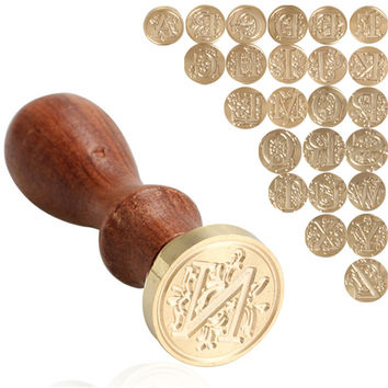 Retro Wood Classic 26 letter A-Z Alphabet Initial Sealing Wax Seal Stamp Post Decorative