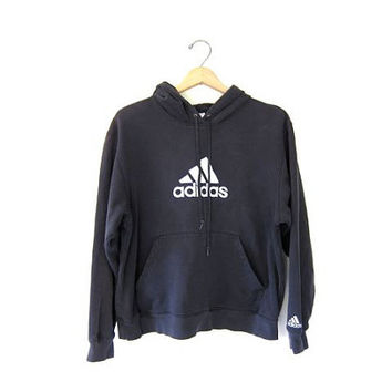 Vintage ADIDAS sweatshirt. Worn in Distressed. Hooded sports sweatshirt. Blue cotton blend boyfriend hoodie. Sporty pullover.