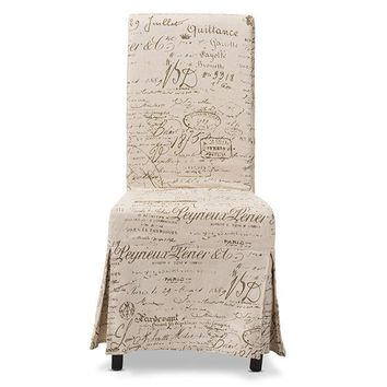 Baxton Studio Picard French Script Beige Linen Modern Dining Chair Set of 2