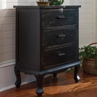 Aged Black 3-Drawer Chest