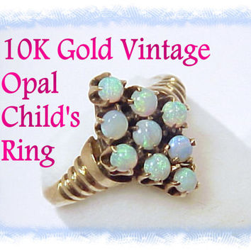 10K Gold ~ Edwardian Early 1900s ~ 10K Gold Childs Australian Black Opal Ring Pendant ~ Pennsylvania Estate Treasure - FREE Shipping