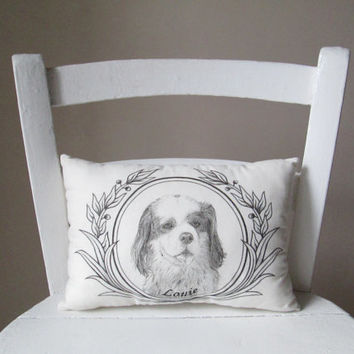 Personalized pet pillow dog cat portrait personalized gift idea hand painted custom message decorative memory cushion