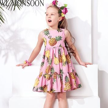 Girls Summer Dress Toddler Clothes Brand Children Party Dresses Pineapple Robe Princess Dress Kids Costumes