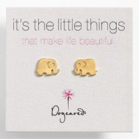 Women's Dogeared 'It's the Little Things' Elephant Stud Earrings - Gold Dipped