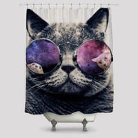 Cat With Galaxy Glasses Shower Curtain