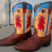 Hand Painted Dan Post Cowboy Boots Womens Size 71/2