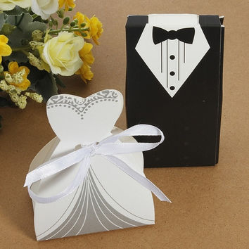 Tuxedo&Dress Bride Wedding Bomboniere Ribbon Candy Boxes Favor Guest Gift Wedding Candies Case
