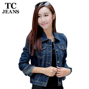 TC Women Denim Short Jackets 2016 Autumn Casual Blue Slim Pockets Button Single Breasted Female Jeans Coat Big Size XL FT00158