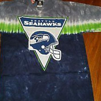 SEATTLE SEAHAWKS  Tie Dye BANNER LOGO T-Shirt NFL  SHIRT WITH TAGS LICENSED NFL