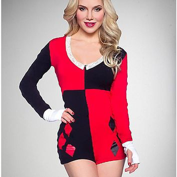 Harley Quinn Long Sleeve Romper - Spencer's