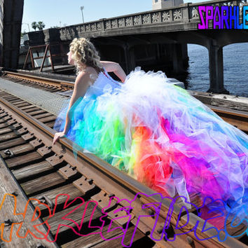 Shop rainbow wedding dress on wanelo vivid rainbow wedding dress junglespirit Image collections