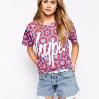 Hype Cropped T-Shirt In Mosaic Festival Print With Front Logo