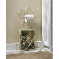 Beautiful Fleur De Lis Standing Iron Bathroom Rack