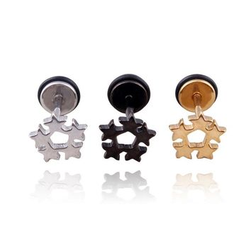 Alisouy Pair Men Stainless Steel Five Star Ear Stud Pierced Earrings Punk Cool