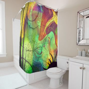 Aliens and Opals Abstract Shower Curtain