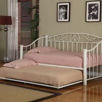 Cream White Finish Metal Twin Size Day Bed (Daybed) Frame With Trundle
