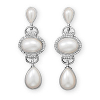 Classic Simulated Pearl and Crystal Fashion Drop Earrings