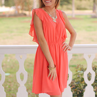 Sweet Ruffles Dress, Coral