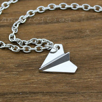 Silver paper plane necklace,origami aeroplane pendant,Harry Styles One Direction Necklace,bridesmaid gift,Friendship christmas Gift