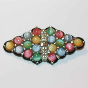 Art Deco Pastel Glass Moonstone Brooch Rhinestones