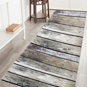 Antislip Water Absorption Bathroom Rug with Wood Grain Print