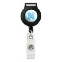 Letter M Initial Baby Boy Block Font Blue Shower Retractable Badge Card ID Holder
