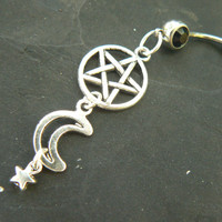 pentagram belly ring Wiccan belly ring moon belly ring star belly ring gothbelly ring in fantasy boho Wicca wiccan witch magic hipster style