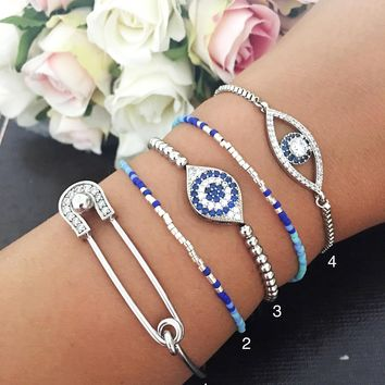 Silver evil eye bracelet, safety pin bracelet, zirconia evil eye bracelet