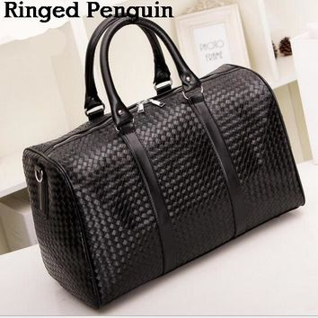 Ringed Penguin Knitting Pattern black leather large travel bag Men women luggage travel bags Duffle Bag maletas de viaje