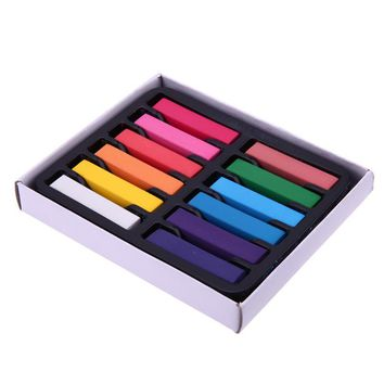 12 Colors Temporary Hair Coloring Chalk Quick Dye Pigment Non-Toxic Salon Home DIY Hair Fast Coloring Dyeing Pastel Chalks