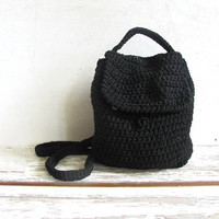 Vintage woven backpack. knit rucksack. black shoulder purse. thick knit back pack purse