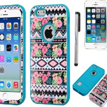 Iphone 6 case, Slim Fit IPhone 6 (4.7 inch) Hybrid Triple Layer Tuff Verge Merge Shield Heavy Duty Hard Cover Fitted Skin Case Protector + Clear LCD Screen Protector Shield Guard + Touch Screen Stylus Pen (Hawaiian Tribal Teal Verge)