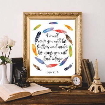 Bible verses Bible quotes Christian wall art Scripture print He will cover you Psalm 91:4 Printable 8x10 Digital Feathers Watercolor SALE