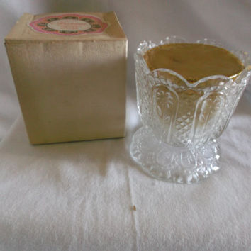 Vintage Avon  Footed Fostoria Candle Holder with Candle