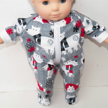 "American Girl Bitty Baby Clothes 15"" Doll Clothes Grey Red Polar Bear Winter Flannel Zip Up Pajamas Pjs Sleeper"