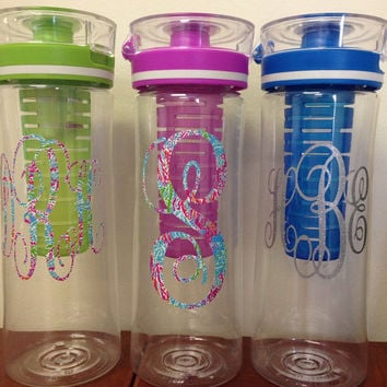 Monogram Water Bottle, Fruit Infused Water Bottle, Monogram Tumbler, LILLY PULITZER TUMBLER, Cool Gear Water Bottle
