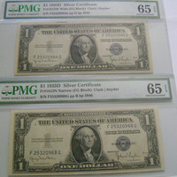 Change Over Pair of Wide to Narrow 1 Dollar Silver Certificates Banknote 1935D FG Block Graded 65 Gem Unc EPQ w/ Nearly Sequential Serial #s