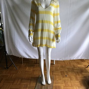 Backless Lemon Yellow Strip Long Sleeve Dresses