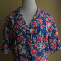 113-0722 Vintage 1990s Does 40s Floral Rayon Day Dress / WWll Style Dress / Pin Up Style