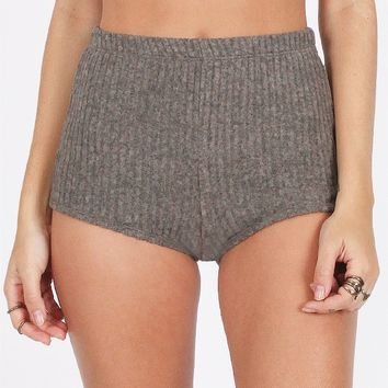 In A Haze Ribbed Shorts In Gray