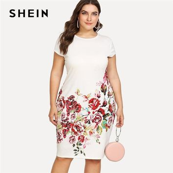 SHEIN Floral Print Pencil Dress 2018 Summer Round Neck Short Cap Sleeve Dress Women White Plus Size Elegant Dress