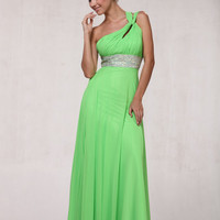 Lime Green Chiffon Rhinestoner Empire Waist One Shoulder Prom Dress - 6 to 22 - Unique Vintage - Prom dresses, retro dresses, retro swimsuits.