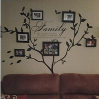 Family Photo wall decal Tree and Family love quote Wall Decal