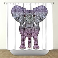 DiaNoche Designs Shower Curtains by Arist Monika Strigel Unique, Cool, Fun, Funky, Stylish, Decorative Home Decor and Bathroom Ideas - Elephant Purple